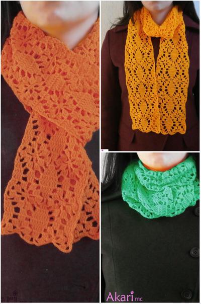 Patrón bufanda a crochet calada