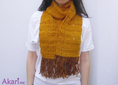 Patrón bufanda a crochet con flecos