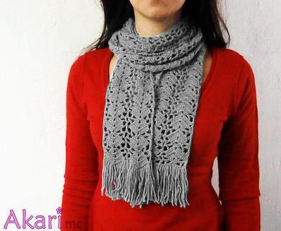 Patrón bufanda larga a crochet calada