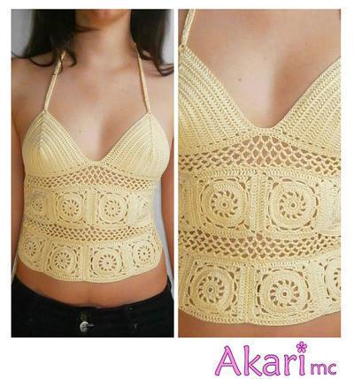 Patrón de crochet top calado con ganny squares y espalda tipo corset