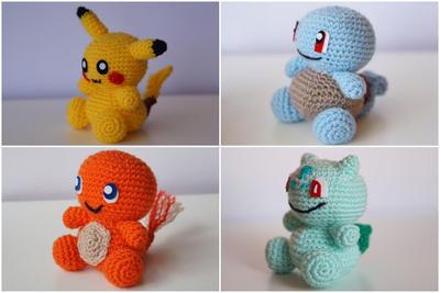 Amigurumi Pikachu Patron En Espanol : donpatron - Pack 4 en 1: Pikachu, Squirtle, Charmander y ...