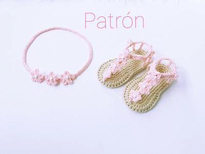 patrn crochet sandalias y diadema beb