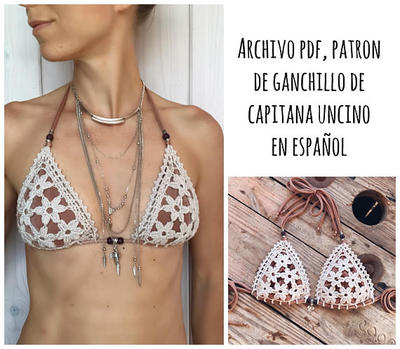 PDF PATRON de Ganchillo, Coralia Bikini, Parte de Arriba, 3 tallas, XS,S/M,L