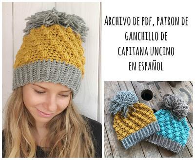 PDF PATRON de Ganchillo, Gorro punto Piña, tallas S, M, L