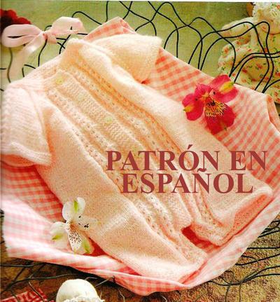 Patrón en español de body para recién nacido a dos agujas
