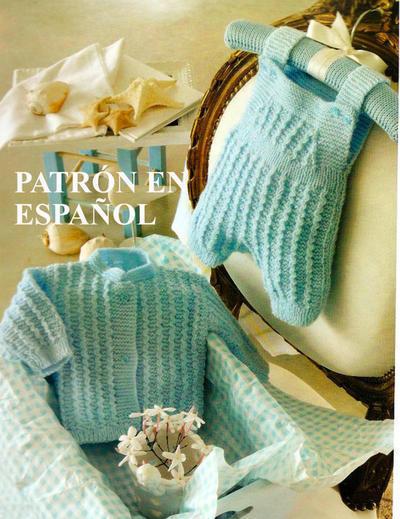 Patrón en español set de sweater y pantalón para recién nacido