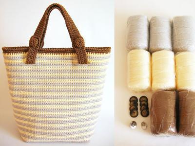 Kit de materiales para tejer bolso a rayas