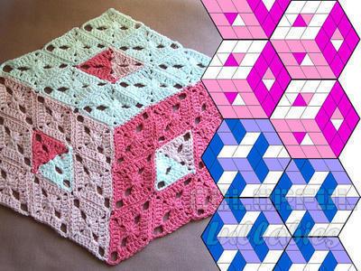 Patrón para manta ilusión 3D