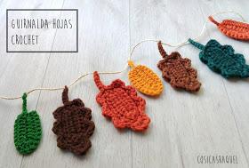 Guirnalda de hojas otoñales a crochet