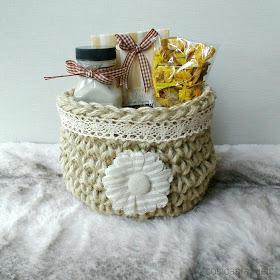 Patrón cesta de cuerda a crochet