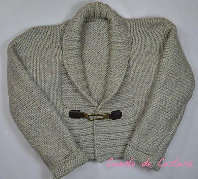 Patrón para chaqueta con solapa de punto elastico para 3-4 años