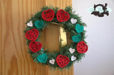 Corazones de Navidad en Crochet