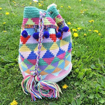 Bolsa de ganchillo estilo Wayuu con Natura Medium por Happy Ganchillo