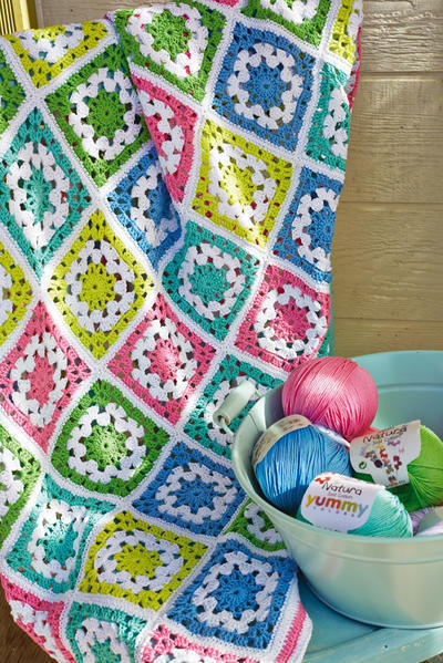 Manta Granny Square Natura Just Cotton
