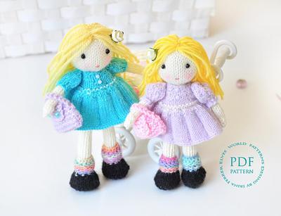 Muñequitas Molly y Dolly a dos agujas