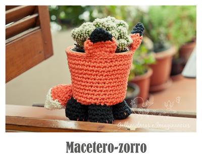 Macetero zorro a crochet