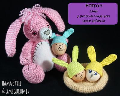 Patrón conejo y gorritos para huevos de Pascua