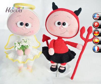 PATRÓN - Bonnie con traje de diablo y Ángel Costume (dos patrones juntos)