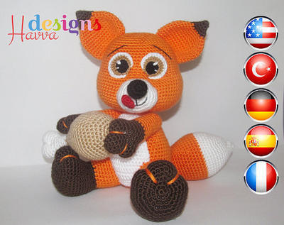 PATRÓN - Pequeño zorro hambriento (Amigurumi Crochet)