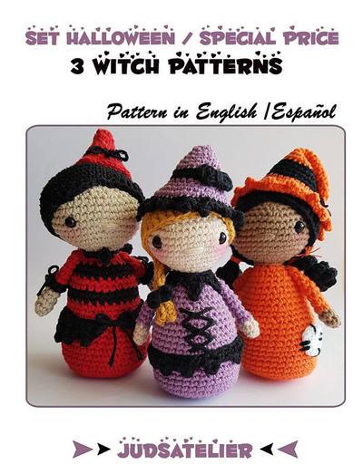 Patrón ganchillo Halloween - Set de 3 patrones de bruja