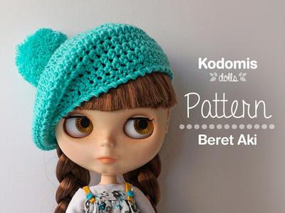 Patrón PDF - Boina Aki para Blythe con pompón - DIY