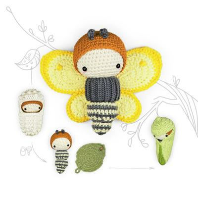 lalylala crochet pattern BRIMSTONE butterfly • LIFE CYCLE Playset • incl. Caterpillar, Butterfly Wings, Egg, Cocoon, Leaf