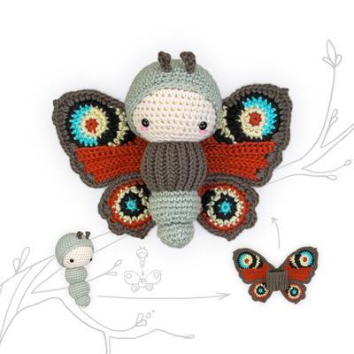 lalylala PEACOCK butterfly crochet pattern •  amigurumi caterpillar plus interchangable butterfly wings