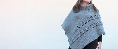 Poncho de cuello alto para mujer