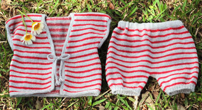 Rebeca y pantalón bombacho a rayas para bebé de 3 a 6 meses