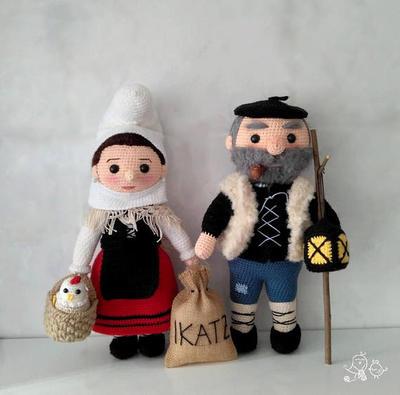 OLENTZERO y MARI DOMINGI patron amigurumi muñeco y muñeca de ganchillo