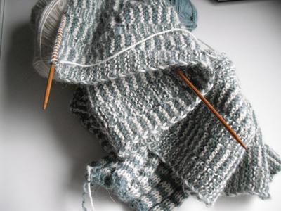 Bufanda a dos colores con lana alpaca