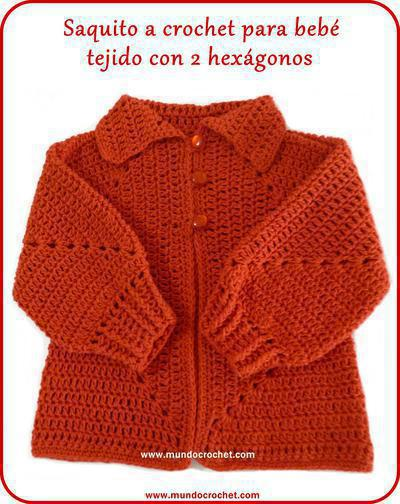 Saquito a crochet para bebé tejido con 2 hexágonos