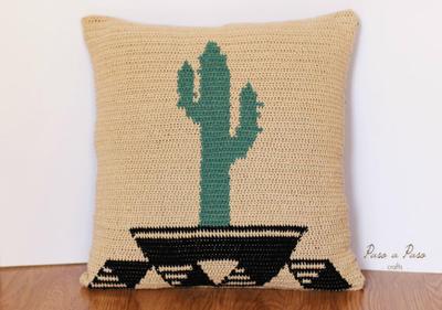 Patron ganchillo funda cojin. Patrón Cactus
