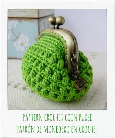 Patrón monedero verde a crochet