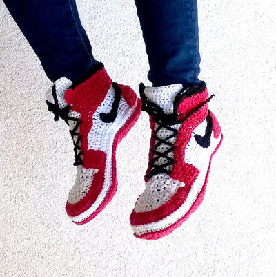 PATRON Zapatillas crochet estilo Air Jordans Talla Adultos
