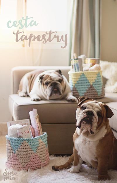 Cesta de trapillo con técnica Tapestry