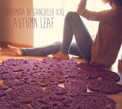 "Alfombra de ganchillo XXL ""Autumm leaf"""