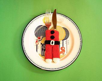 Patrón de ganchillo - cubre cubiertos Noel - patrón navidad