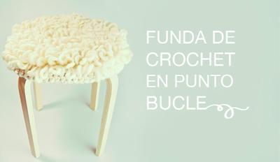 Funda para taburete en punto bucle crochet