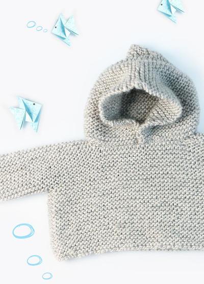 KIT de punto para sueter con capucha para bebé