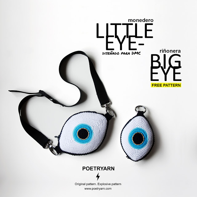 Patrón ganchillo: Monedero Little Eye y Riñonera Big Eye de Poetryarn