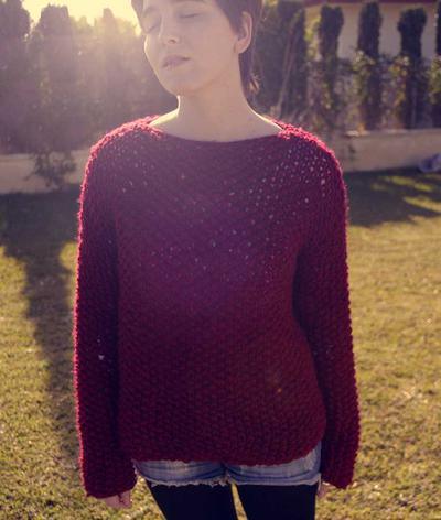 Deep-red Knit