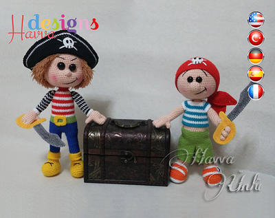 PATRÓN - Piratas Jake y Jim (ganchillo, amigurumi)