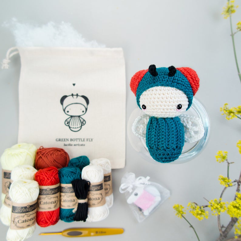 Crochet Kit lalylala Amigurumi Fly Life Cycle Play Set