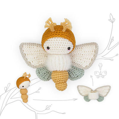 crochet pattern lalylala butterfly GOLDEN DAYDREAM MOTH •  amigurumi caterpillar plus interchangeable wing set