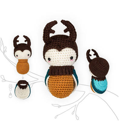 crochet pattern lalylala STAG BEETLE •  amigurumi larva plus interchangeable beetle wing set