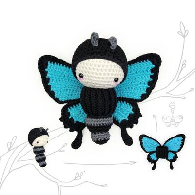 crochet pattern lalylala ULYSSES butterfly •  amigurumi caterpillar plus interchangeable wing set