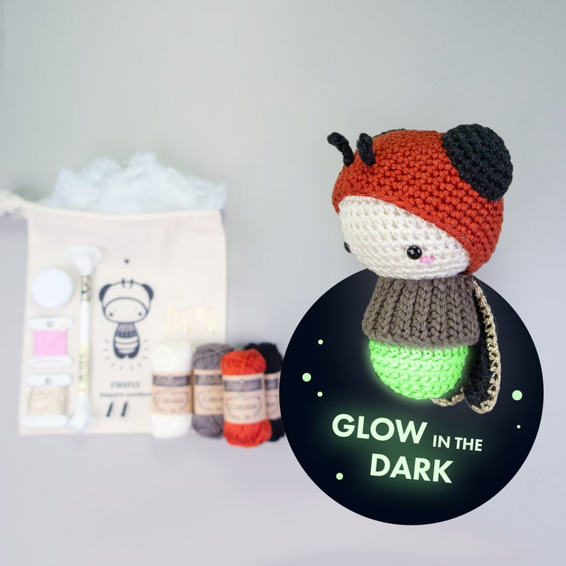 Lalylala Crochet Kit FIREFLY amigurumi Glow In The Dark