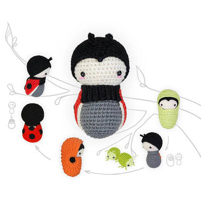 lalylala crochet pattern LADYBIRD / LADYBUG beetle • Life Cycle Playset • incl. Larva, Beetle Wings, Egg, Pupa, Aphid