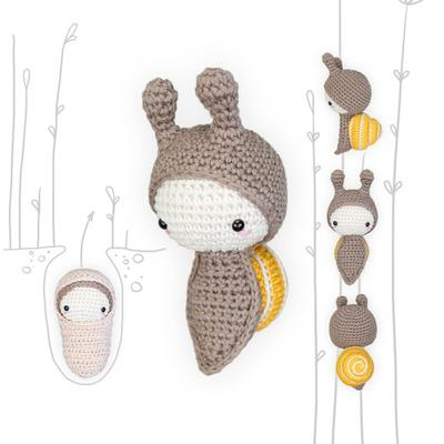 lalylala crochet pattern SNAIL • LIFE CYCLE Playset • incl. Grove Snail, Egg